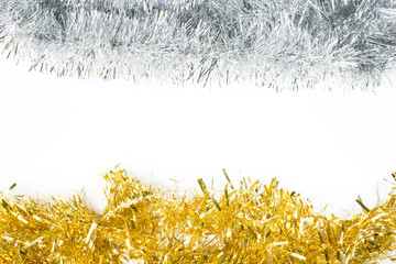 Festive background with gold and silver garland to insert text.