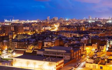 night top view of Badalona and Barcelona