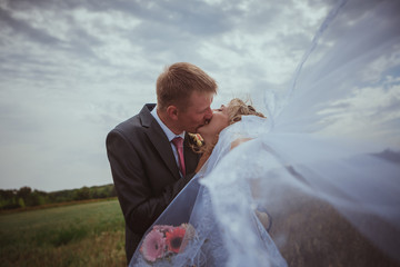 Beautiful bride and groom standing in grass