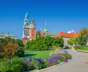 Flowers in garden on courtyard of Wawel Castle, Krakow, Poland