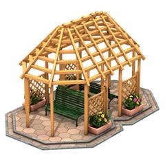 Gazebo a capanna in legno
