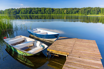 Fishing boats on the masurian lake in Poland