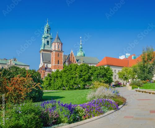 Flowers in garden on courtyard of Wawel Castle, Krakow, Poland