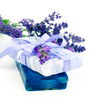 natural herbal lavender soap with fresh blossoms isolated on whi