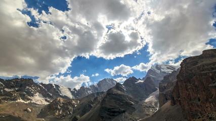Mountains with glaciers. Panorama. TimeLapse. Pamir, Tajikistan