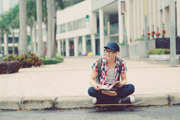 Skater with books