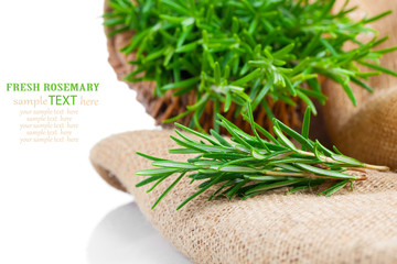 tied fresh rosemary on the burlap, over white background
