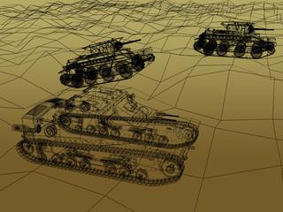 battle tank on sand wire frame ,war concept