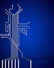 Abstract circuit board with blank space.Blue  background
