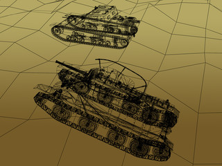 battle tank on sand wire frame ,war concept