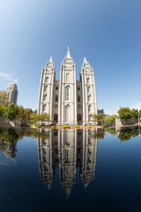 Salt Lake Temple and Reflection in Water
