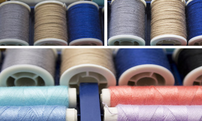 composition of colorful sewing threads