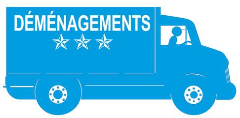 camion bleu de déménagement