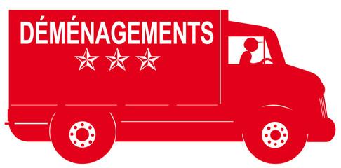 camion rouge de déménagement