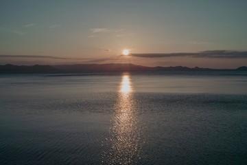 猪苗代湖の夕日