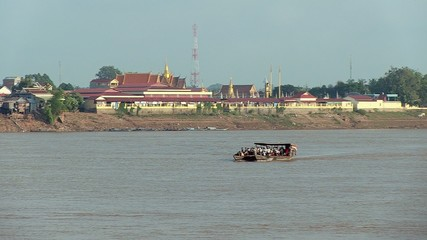 Ferry boat sailing on the mekong river