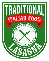 italian lasagna label