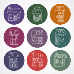 Cute vector hand drawn house icons
