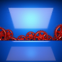 blue metal background with red cogwheel gears