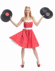 Mädchen mit Schallplatten