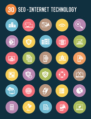 49 SEO flat icons,color vector