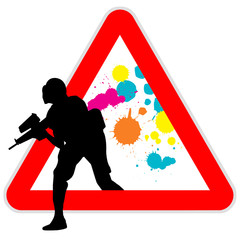 Danger sign - paintball