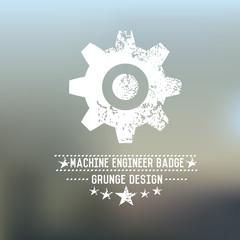 Gear badge grunge symbol on blur background