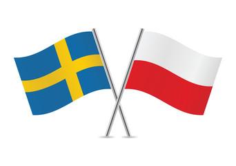 Polish and Swedish flags. Vector illustration.