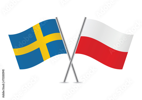 Polish and Swedish flags. Vector illustration. - 70380941