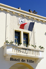 facade of the town hall of the French town of Saintes-Maries-de-