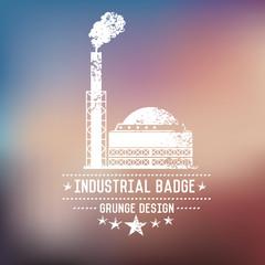 Industry badge grunge symbol on blur background