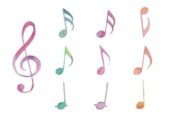 ト音記号と音符のセット
