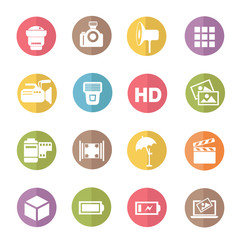 Photography icons,colors vector