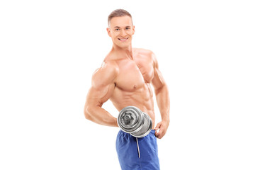Male bodybuilder holding a small barbell