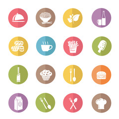 Food and drink icon set,color vector
