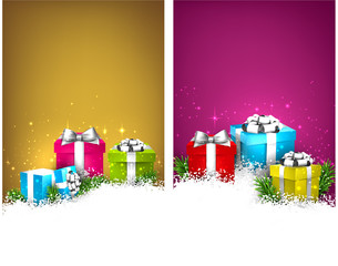 Colorful christmas banners with gift boxes.