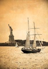 Retro postcard- Statue of Liberty