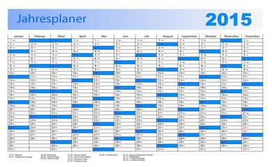Jahresplaner 2015 in blau