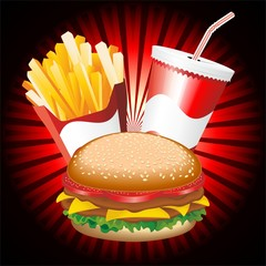 Fast Food Hamburger Fries and Drink Menu