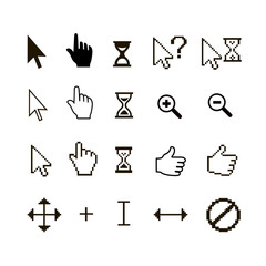 Vector set of different mouse cursors