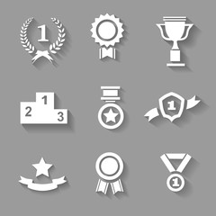 Set of white vector award  success and victory icons with