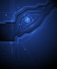 Blue eye technology conceptual background-Circuit board.