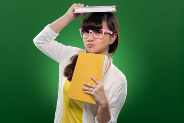 Funny girl with books