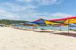 Leinwanddruck Bild - Tropical beach with shade umbrella