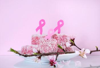 Pink Ribbon Day Australian pink heart shape lamingtons.