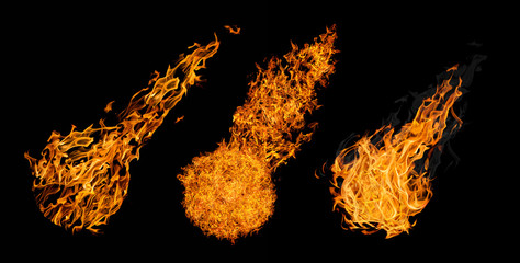 set of three balls of fire isolated on black