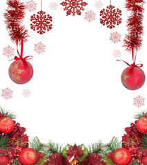 frame from red christmas decorations isolated on white