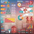 Oil Industry Infographic Elements on blur background
