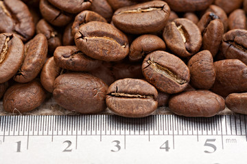 coffee beans with measuring scale