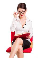 business woman reading a book
